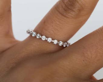 Women's Diamond Eternity Band, Single Prong Eternity Band with 3 Pointer Diamonds All Around
