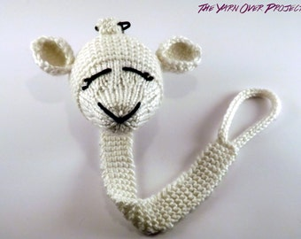 Hand-Knit Lamb Pacifier Clip - Knit Pacifier Leash - Pacifier Clip for Baby - Knitted Soother Clip - Knit Lamb Toy