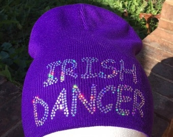 Irish Dance  Sparkle Purple Beanie, This hat will let you sparkle wherever you go, this Spangle Design shines in sunshine, sparkles at night