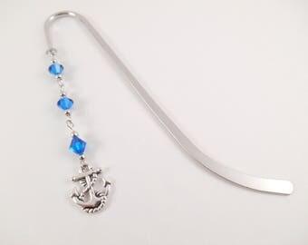 Blue Anchor Bookmark - Blue Swarovski Beaded Anchor Charm Bookmark