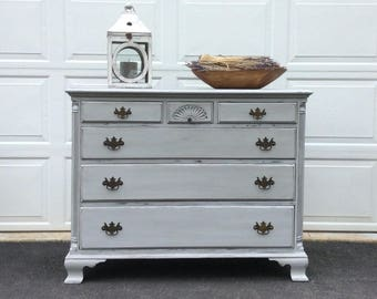 Hand Painted Dresser, Grey Distressed Chest of Drawers, Cottage Chic Buffet, Server, Farmhouse Decor