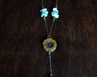 Sterling Silver Turquoise Orange Czech Glass Pyrite Necklace