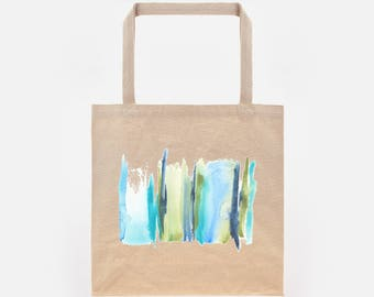 Watercolour Abstract Stripe 4 Print on Natural Canvas Tote Bag
