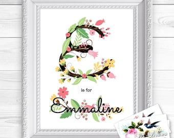 "Personalized / Custom Gift Girl, Initial & Name, Flowers Wall Art Sign 8x10"", Female, Feminine"