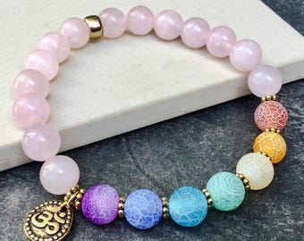 Women's seven chakras rose quartz bracelet, Yoga mala beaded stretch bracelet, 7 stones OM AUM bracelet, Gift for women, WildCoastJewels