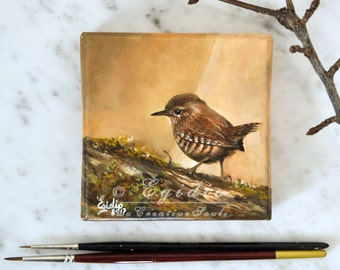 Winter Wren miniature oil painting 4x4  Small art with Bird Earthy colors background SFA