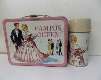 1967 Campus Queen Metal Litho Lunch Box with Thermos King Seeley