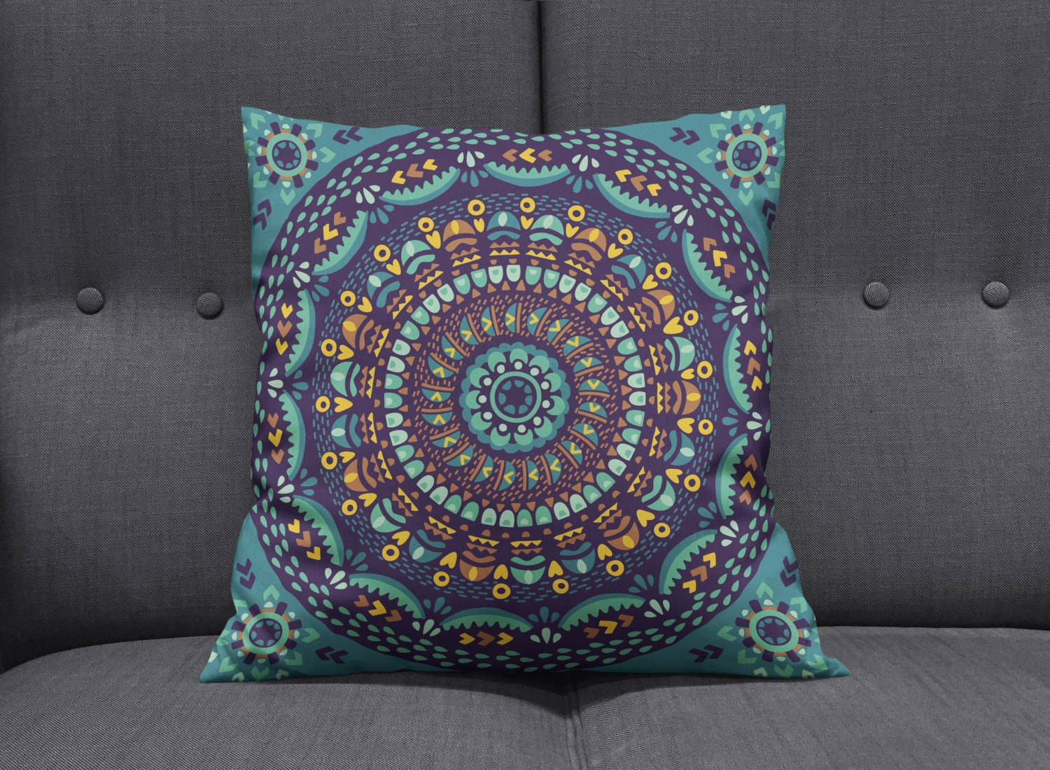 Boho Chic Hippie Mandala Throw Pillows Square by FolkandFunky