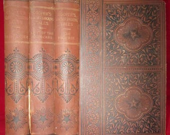 Lot of 3 Books by James Fenimore Cooper 1890s Victorian Classics Antique Books