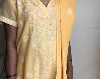 Vintage Chikan Salwar Kameez, Pale Yellow, Indian Salwar Kameez, Set of 4,Mulmul Cotton,Chikankari, Embroidered Chudidar Kameez, Indian Suit