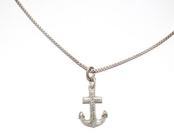 Sterling silver anchor necklace with 24 inch sterling silver chain