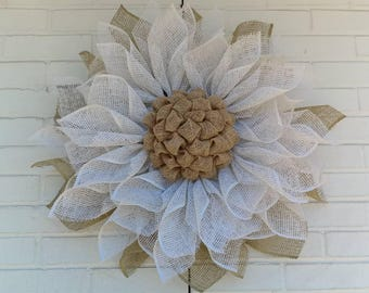 Country White Poly Burlap Sunflower Wreath