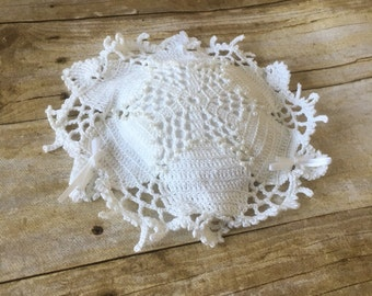 HANDMADE Crocheted Pin Cushion. Doily Pin Cushion. Fancy Pin Cushion. White Pin Cushion.