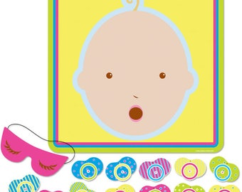 Pin the Pacifier Baby Shower Game For Up To 12 Players - Shower Games - Baby Shower Activity - Interactive Baby Shower Game