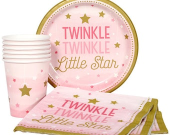 32 Pc Set Twinkle Twinkle Little Star Pink & Gold Baby Shower Disposable Partyware - Baby Girl- Girls Shower - 1st Birthday - Service For 8!