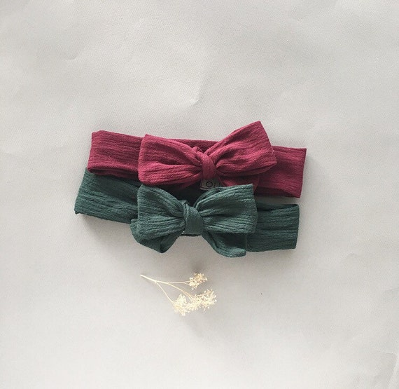 Headband SET- Burgundy and Forest Green Gauze Headwrap Set - NO STRETCH