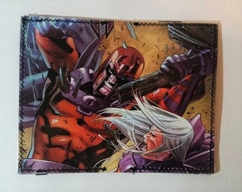 magneto recycled comic book wallet - slim wallet - hanmade wallet - card holder - thin wallet - unisex wallet - men's wallet