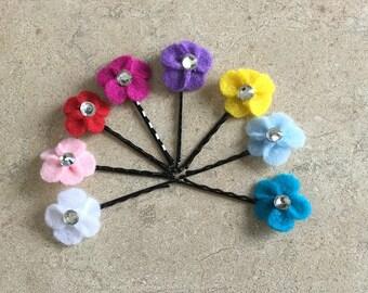 Felt Flower Hair Pins. Spring Flower Hair Pins. Bridal Hair Accessories. FFBHP1