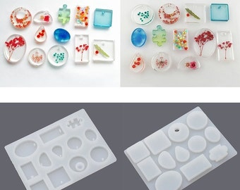 Silicone Mold  for Epoxy Resin Jewelry Gemstone Making - Silicon Mould DIY Craft - Multi Shape Flexible - Pendant Necklace Earrings - m001