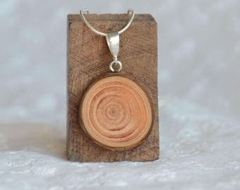 Raw and minimal wooden pendant with sterling silver chain, nature lover gift idea, reclaimed tree branch wood pendant