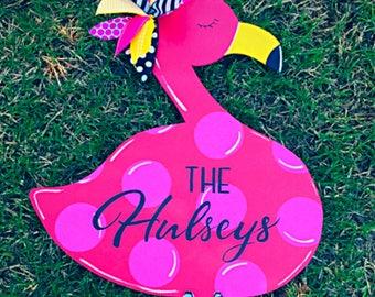 Flamingo Door Hanger, Spring Door, Summer Door, Summer Wreath