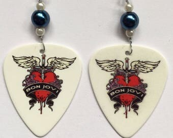 1 Pair- Bon Jovi Guitar Pick Earrings
