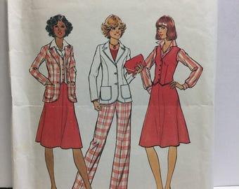 1970s, Simplicity 7376, Jacket, Vest, Skirt, Pants, Sewing Pattern, Size 12, Knee Length Skirt, Pocket Jacket, V Neck Vest, Buttoned Jacket