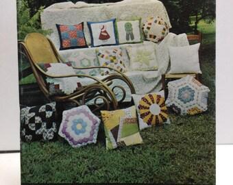 1970 Quilt Pillow Book, Quilt Patterns, Overall Sam, Crazy Quilt, Dresden Plate, Nine Patch, Drunkard's Path, Dutch Doll Eight Pointed Star