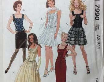 Corset Top and Skirt McCall's 7990 Sewing Pattern Long Skirt, A Line Skirt,Above Knee Skirt, Ankle Length Skirt, Tank Corset,Size 4-6