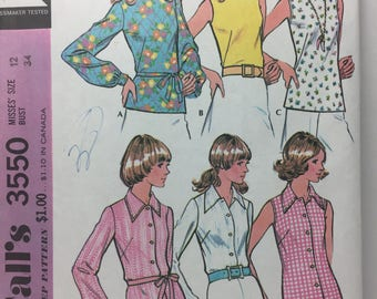 1970's McCall's 3550 Blouse Sewing Pattern,Size 12, Pullover Blouse, Short Sleeve, Long Sleeve, Buttoned Blouse, Roll Collar, Buttoned Cuffs