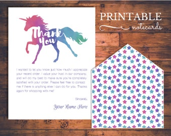 Unicorn Printable Personalized Thank You Notes - Instant Download Note Cards and Envelope Liner