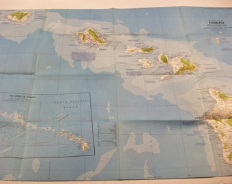 Vintage Hawaii Map, Color National Geographic Map, Vintage Hawaiian Islands Map, Vintage Hawaii State Map