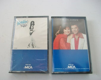 Loretta Lynn Audio Cassette Tapes, Vintage Set of 2 Cassettes, Coal Miner's Daughter and The Very Best of Loretta and Conway, Country Music