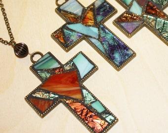 Stained Glass Mosaic Cross Pendant, Mosaic Glass Cross Ornament