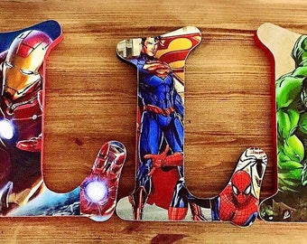 Wall mountes Superhero letters. Avengers, spiderman, all your favourite superheroes and villians.