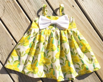 Lemonade girls burthday dress, big bow dress, toddler summer lemonade dress, newborn lemon dress, coming home outfit, gift