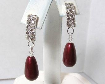 Pearl Rhinestone Earring, Swarovski Crystal Pearl Earring, Swarovski, Bordeaux Pearl, Bride, Wedding, Bridesmaid, Burgundy, Silver, Dangle