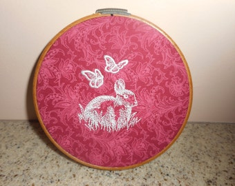 BUNNY in HOOP EMBROIDERED Rabbit with Butterflies