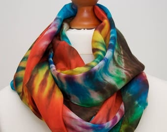 Rainbow spring inspiration, hand-painted silk scarf, free shipping