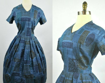 50s Day Dress Navy Blue Novelty Print S