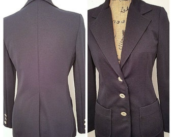 Koret size small women's navy blue button up shoulder padded fitted women's blazer, vintage women's fitted navy blazer, tailored blazer