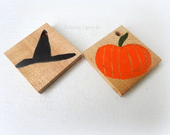 Halloween Wood Ornaments with Pre-Drilled Holes - Set of Four; 2 Pumpkin, 2 Witch Hats
