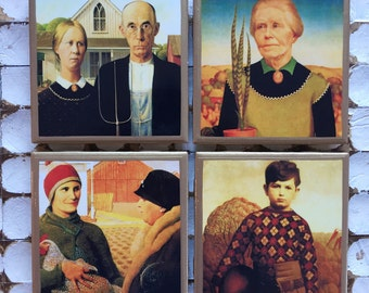 COASTERS! Grant Wood paintings featuring American Gothic set of coasters with gold trim