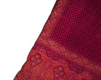 Antique Silk Saree Scarf Vintage Beautiful Silk Sari Stole Women Shawl Hand Printed Silk Sarong Curtain Drape PSS2532