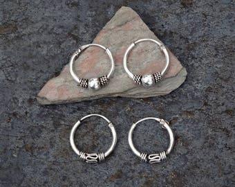 Silver Hoops, Silver Hoop Earrings, Bali Hoops, Mini Hoops, Tiny Hoops, Boho, Ethnic, Tribal, Sterling Silver, 925
