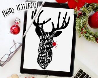 Reindeer SVG Cut File, Rudolph SVG, Dasher Dancer, Silhouette Cricut Christmas Deer SVG Cutting File, Hand Drawn Christmas Printable Overlay
