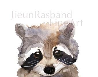 "Baby Raccoon- 11""x14"" instant print,animal printable art, watercolor by Jieun Rasband, wall decor, Nursery wall art"