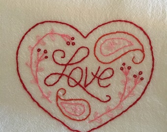 Flour sack towel, hand embroidered: Paisley Heart