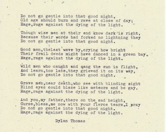 "Framed DYLAN THOMAS quote ""Do not go gentle into that good night""Vintage Dylan Thomas quote."