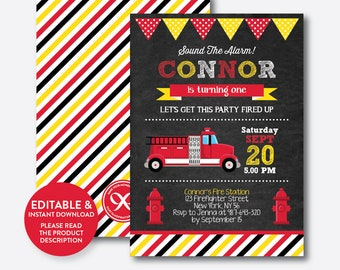 Instant Download, Editable Fire Truck Birthday Invitation, Firetruck Invitation, Fireman Invitation, Firetruck Party, Chalkboard (CKB.291B)